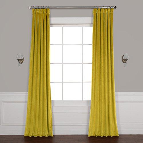 HPD HALF PRICE DRAPES VPYC-179911-84 Heritage Plush Velvet Curtain, 50 x 84, Peat Green