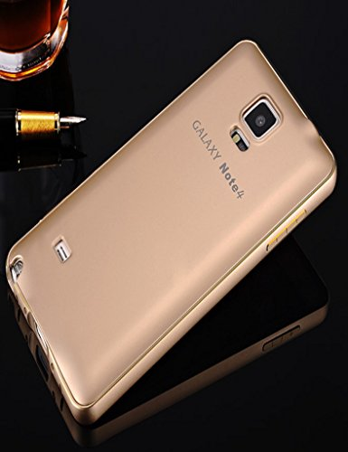 Galaxy Note 4 Case,Samsung Note 4 Case,TIANLI(TM) Luxury Aluminum Metal Bumper Frame Hard Case Cover Shell For Samsung Galaxy Note 4 +[Screen Protector]+[Free Stylus]+[Cleaning Cloth],Tuhao Gold