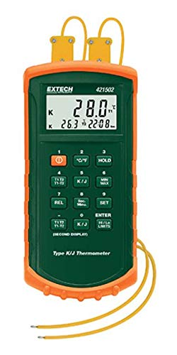 - Extech 421502-NIST Type J/K Dual Input Thermometer with Certificate Traceable to NIST and Alarm, Widest Range with Highest 0.05% Accuracy, Rugged Water Resistant Design with Protective Holster/Stand