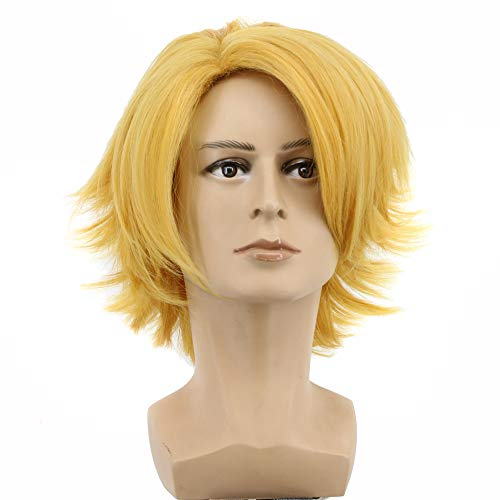 Yuehong Short Curly Blonde Mens Wig Cosplay Wigs Halloween Cosplay Costume
