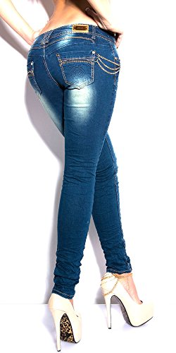 Borchie Jeans Store Blue Skinny Strass Pantalone Denim Donna E Blanco Stretch P0Rxww