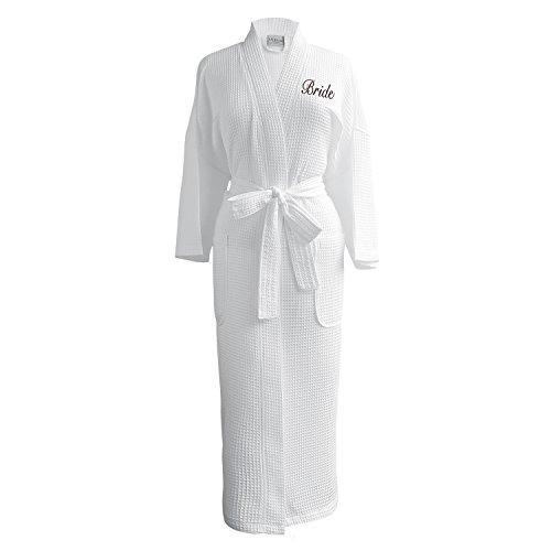 Caravalli Egyptian Cotton Waffle Robe, White Spa Bath Robe with Bride Embroidery