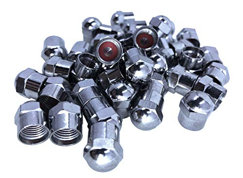 KEX Pack of 100 Chrome Hex Dome Metal Valve caps for Cars, Bicycles and Trucks with Inner Seal ()