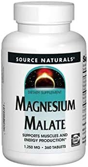 Source Naturals Magnesium Malate 1250 mg Per Serving Essential Magnesium Malic Acid Supplement - 360 Tablets