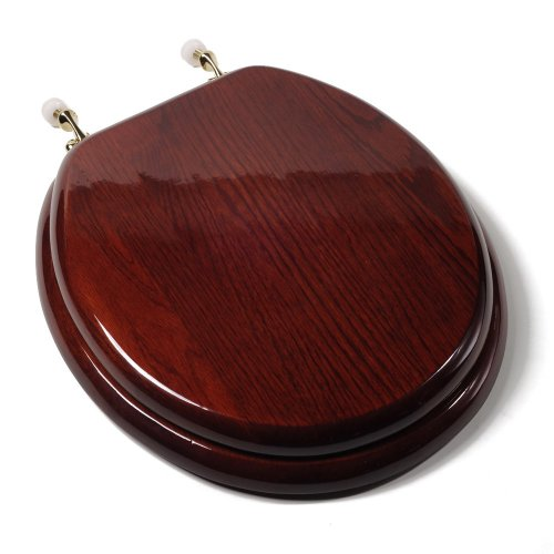 Comfort Seats C1B1R-16BR Designer Solid Wood Toilet Seat with PVD Brass Hinges, Round, Mahogany - Pvd Brass Hinges