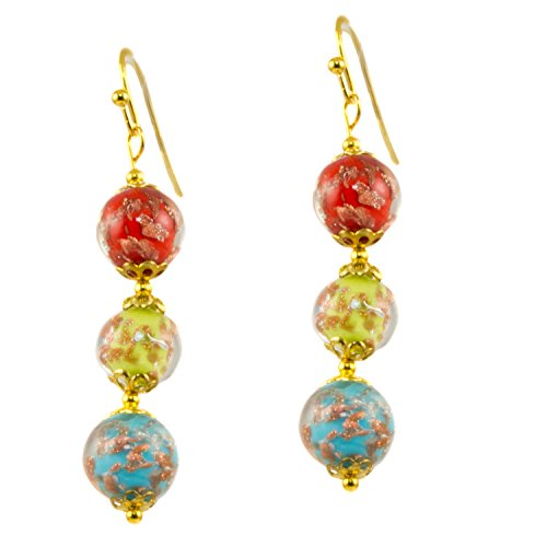 - Just Give Me Jewels Genuine Venice Murano Sommerso Aventurina Glass Bead Dangle Three Bead Earrings-Multi Color