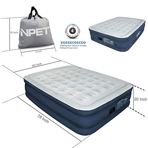 NPET Queen Air Mattress Built-in Rechargeable Battery Air Pump, AM001 Portable Indoor/Outdoor Ultimate Fabric 20″ Double High Airbed, Free Storage Bag & Repair Patches Compatible Camping, Travel