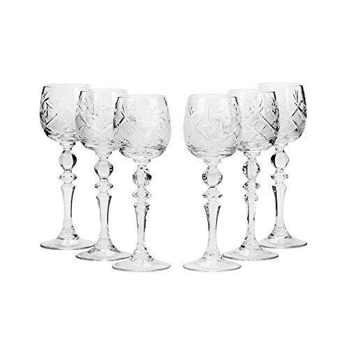Vintage Shot Glass - Set of 6 Neman Glassworks, 2-Oz Hand Made Vintage Russian Crystal Shot Glasses on a Stem, Vodka or Liquor Old-fashioned Glassware