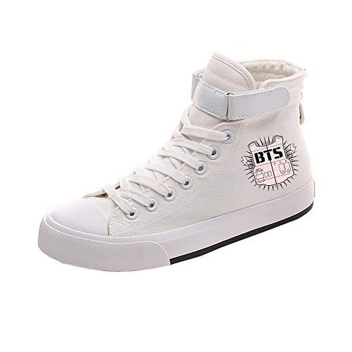 Con White17 Pareja Alta De Lona Ayuda Bts Popular Cómodo Cordones Personalidad Zapatos Casuales Cn7qa5
