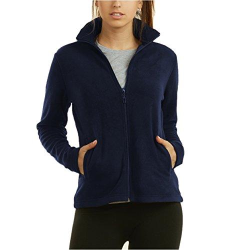 (Mechaly Women Classic Full Zip Long Sleeve Polar Fleece Jacket (Navy, Small))