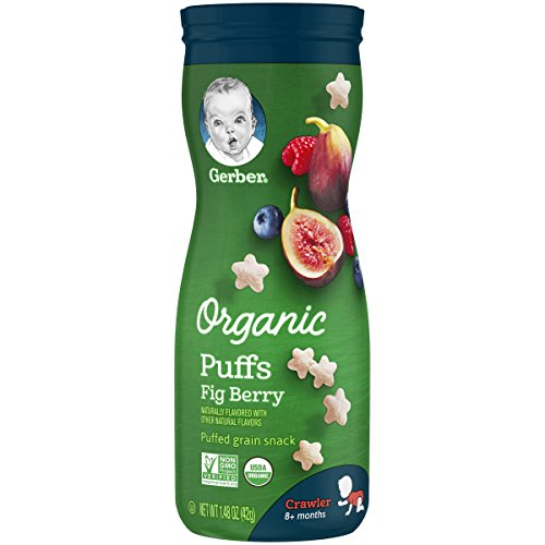 Gerber Organic Puffs Cereal Snack, Fig Berry, 6 Count (Gerber Treats)