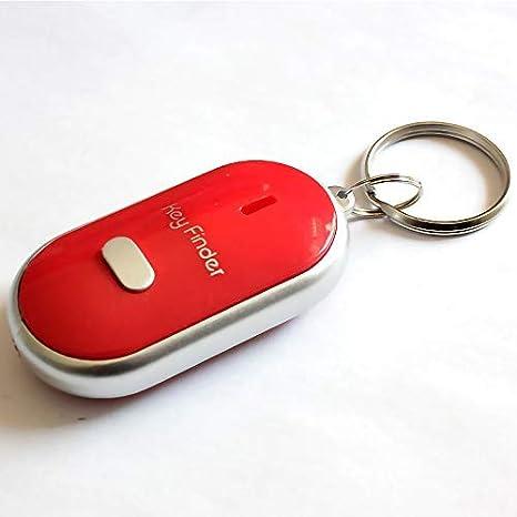 Lanbowo LED Buscador de Llaves Localizador Encontrar Lost Llaves Cadena Llavero Silbato Sonido Control - Rojo