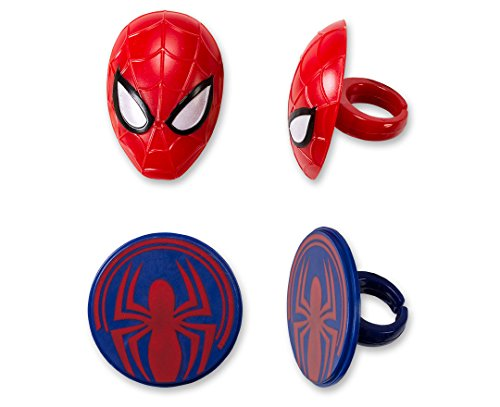 CakePicke cake cupcake topper Spider-Man Mask & Spider Cupcake Rings - 12 Ct -