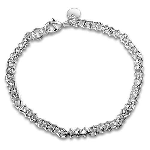 Onefeart Sterling Silver Bracelet for Women Girls Special Design Joint Shape 20x0.6CM Silver from Onefeart