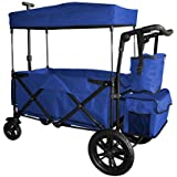 BLUE PUSH AND PULL HANDLE WITH REAR FOOT BRAKE OUTDOOR SPORT COLLAPSIBLE FOLDING STROLLER WAGON BABY TROLLEY W/ CANOPY GARDEN UTILITY SHOPPING TRAVEL CARTFREE CARRYING BAG - EASY SETUP NO TOOL NEEDS