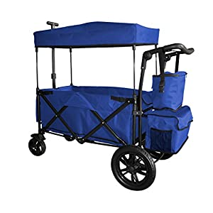 BLUE PUSH AND PULL HANDLE WITH REAR FOOT BRAKE OUTDOOR SPORT COLLAPSIBLE FOLDING STROLLER WAGON BABY TROLLEY W/ CANOPY GARDEN UTILITY SHOPPING TRAVEL CARTFREE CARRYING BAG – EASY SETUP NO TOOL NEEDS