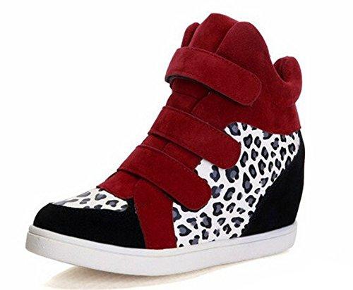 de rouge Baskets ville Compensées Sneakers Leopard Suede Chaussures q1OzOntwP