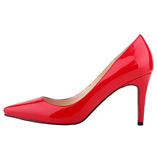 Ochenta Rojo Stiletto de Puntiaguda de Boda Bombas Zapatos PU Mujer Sexy rqpxrZ