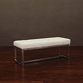 Amazon.com: Liberty Modern White Indoor Leather Bench: Kitchen ...