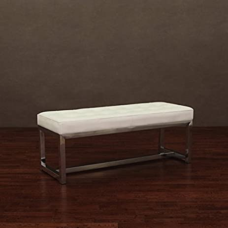 Amazon.com: Liberty Modern White Indoor Leather Bench: Kitchen & Dining