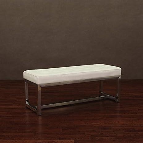 Amazon.com: Liberty Modern White Indoor Leather Bench: Kitchen ...
