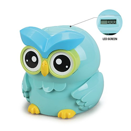Chastep OWL Digital counting Money Bank/Box Piggy box Coins bank LCD screen Moneybox (12.7x12.7x13.3cm, Blue)