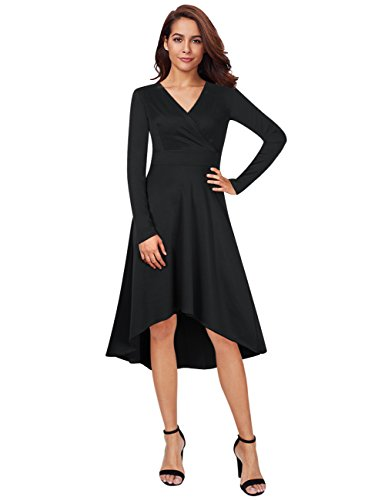GloryStar Women V Neck Long Sleeve Dress High Low Cocktail Evening Party Dress Black M