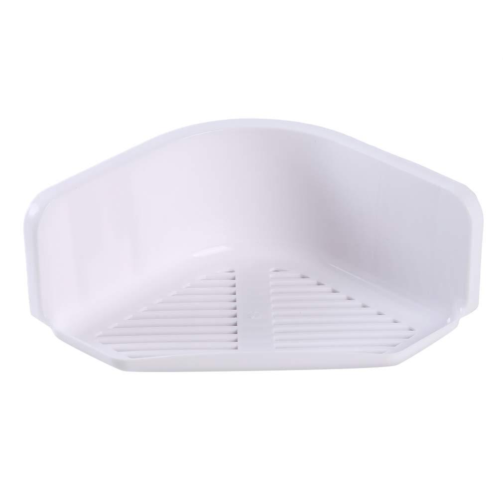 blanco Estante de esquina para ba/ño con ventosa sin perforaciones Lnlyin