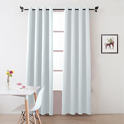 white and light blue curtains - 9