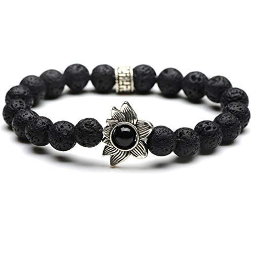 Diffuser Bracelet w/7 Chakra Lava Stones-Mens Womens Genuine Yoga Bracelet For Healing, Aromatherapy, Meditation, Natural, Essential Oils, Self Confidence, Love FREE AROMATHERAPY BOOK (Flower)