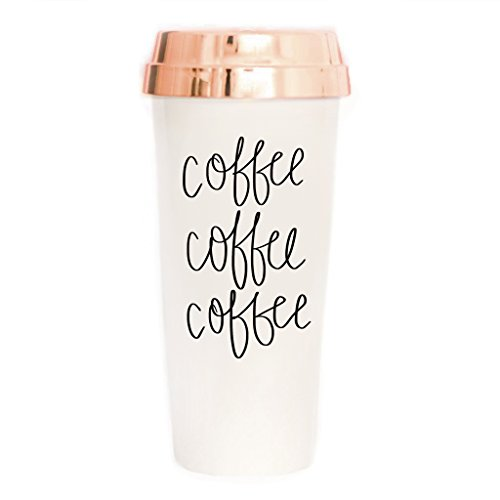 Sweet Water Decor Coffee Coffee Coffee Travel Mug | Rose Gold Lover Cute Accessories for Women Commuter Plastic Tumbler Cup with Lid 16 Ounces Hand Lettered