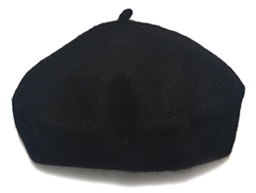 AWAYTR Children Wool French Beret Girl's artist Hat Black
