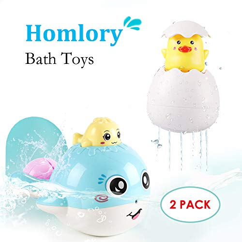 Homlory Baby Bath Toys Hidden Duck and Cute Squirt Whale Floating Water Bath Tub Toys for 1 Year Old Toddlers Boys Girls