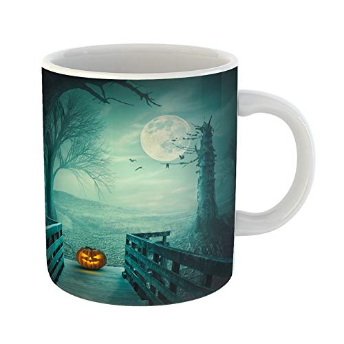 Emvency Coffee Tea Mug Gift 11 Ounces Funny Ceramic Spooky Autumn Forest Dead Trees Old Wooden Bridge Pumpkin Bats and Roots at Gifts For Family Friends Coworkers Boss -