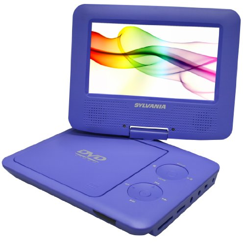 Sylvania SDVD7027 7-Inch Portable DVD Player with Car BagKit Swivel Screen USBSD Card Reader (Purple)