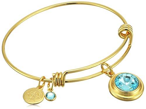 - Halos & Glories March Crystal Shiny Gold Bangle Bracelet