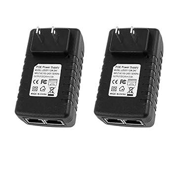 eDealMax 2pcs US Wall Enchufe 24V / adaptador Ethernet Punto de acceso inalámbrico de alimentación 0.5