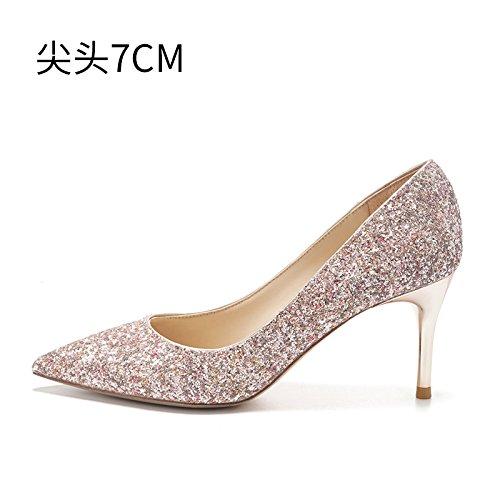 mariage chaussures bottes chaussures crystal mariée 7CM hauts chaussures mariage à HUAIHAIZ Escarpins de lady talon compagnons A haut pink Talons Le soirée femme 8q0pZ