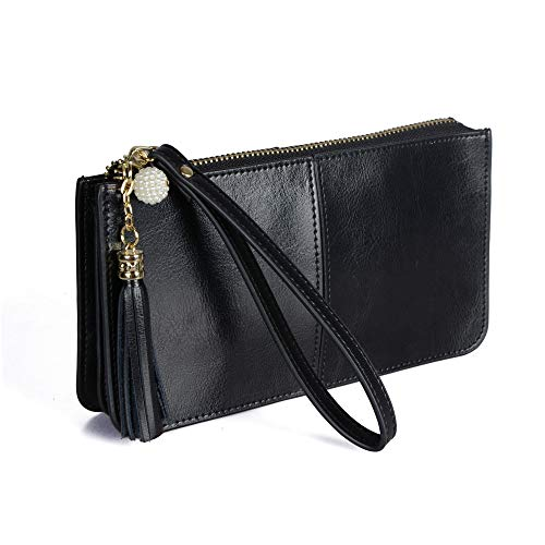 FERRISA Women Leather Small Wristlet Purses, Smartphone Wallets Clutch purse with Card Holder