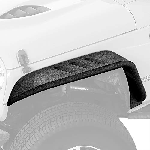 Tyger Auto TG-FF7J66818 Flat Style Steel Fender Flares Front & Rear 4PCS Set Black Textured Compatible with 2007-2018 Jeep Wrangler JK Both 2 & 4 Door