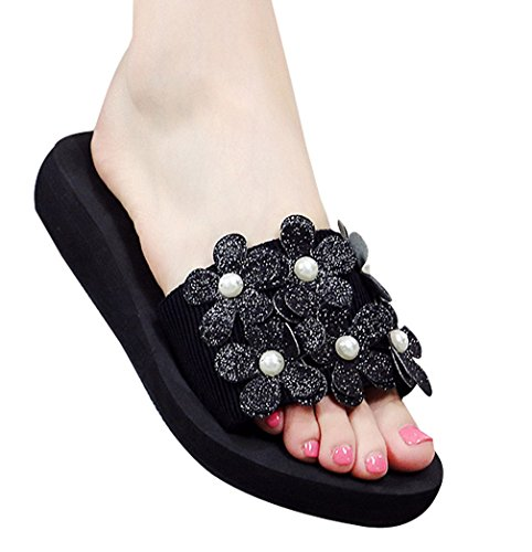 Cattior Womens Summer Outdoor Ladies Slippers Beach Slide Sandals Black tTr59rHU