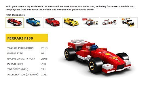 LEGO 2014 The New Shell V-Power Collection Ferrari F138 40190 Exclusive Sealed ()