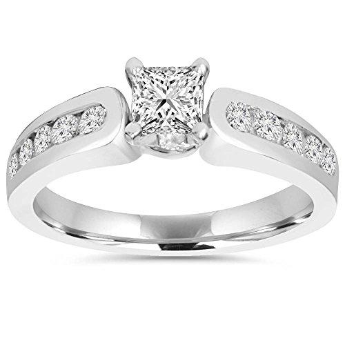 1 CT Princess Cut Diamond Engagement Ring 14k White Gold - Size 8