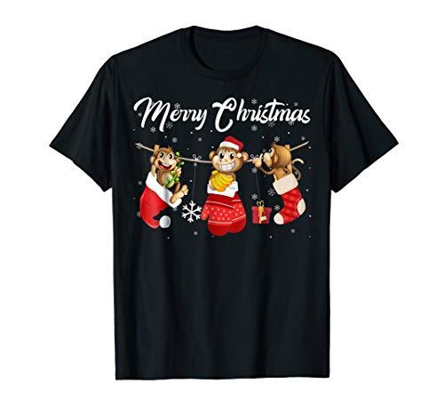 Merry Christmas Santa Monkey In Christmas Stocking