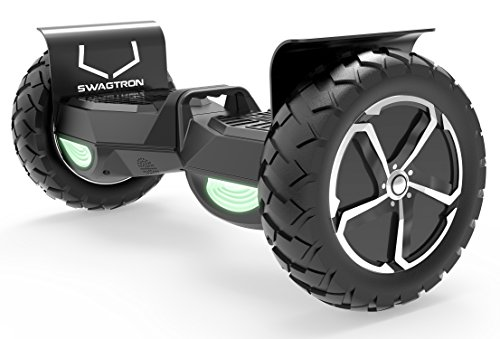 Swagtron T6 Off-Road Hoverboard - First in The World to Handle Over 380 LBS, Up to 12 MPH, UL2272 Certified, 10' Wheel (Black)
