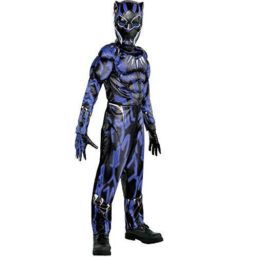 Party City Black Panther Muscle Halloween Costume for Boys, Black Panther Movie, Medium, Includes Accessories