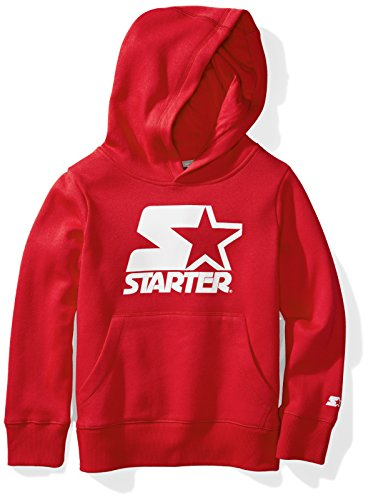 Starter Boys' Pullover Logo Hoodie, Prime Exclusive, Team Red, S - Jersey Embroidered Red Football