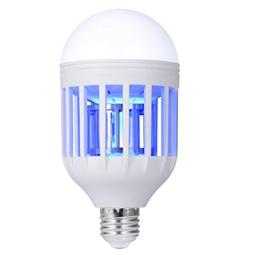 Bug Zapper Light Bulb, Electronic Insect Killer, Mosquito Zapper Lamp, Fly Killer, Built in Insect Trap, 110V E26/E27 Light Bulb Socket Base for Home Indoor Outdoor Garden Patio Backyard
