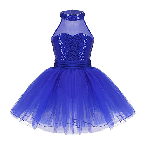 FEESHOW Girls Sequined Camisole Ballet Dress Leotard Chiffon Skirt Sparkly Fairy Dance wear Costumes Mock neck Blue 7-8 -