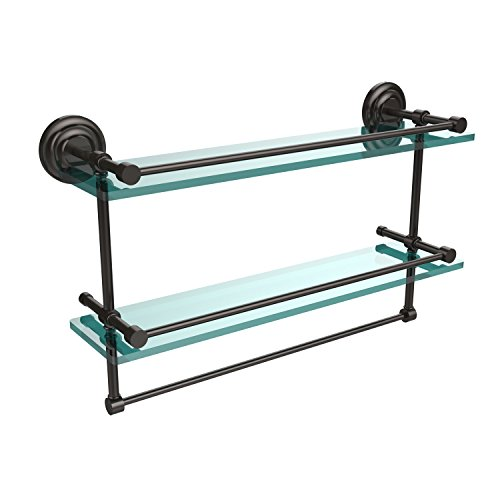 22-GAL-ORB 22-Inch Gallery Double Glass Shelf with Towel Bar, Oil Rubbed Bronze ()